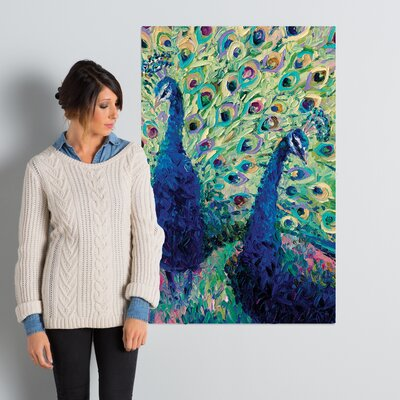 Gemini Peacock Painting Print on Wrapped Canvas Size: 40