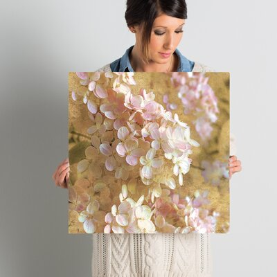 Gilded Hydrangea Graphic Art on Wrapped Canvas Size: 18