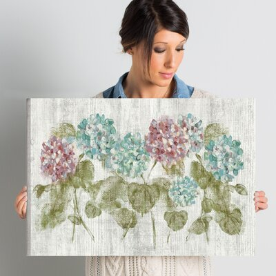 Vibrant Row of Hydrangea Painting Print on Wrapped Canvas Size: 24