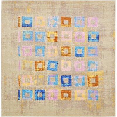 Annisville Beige/Blue Area Rug Rug Size: Square 10