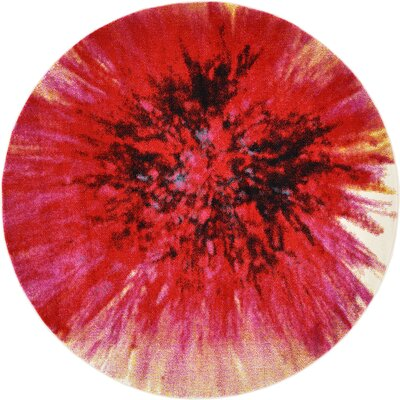 Elvia Red Area Rug Rug Size: Round 6'