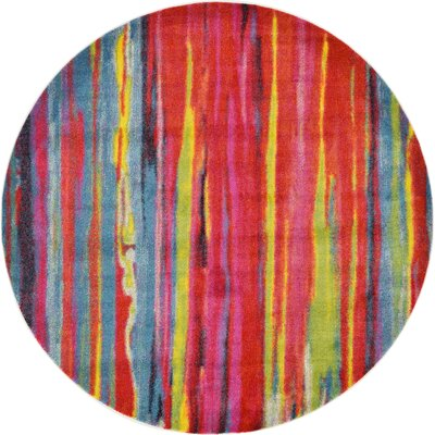 Elvia Blue/Red Area Rug Rug Size: Round 6'