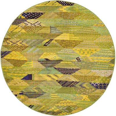 Roshan Green Area Rug Rug Size: Round 6