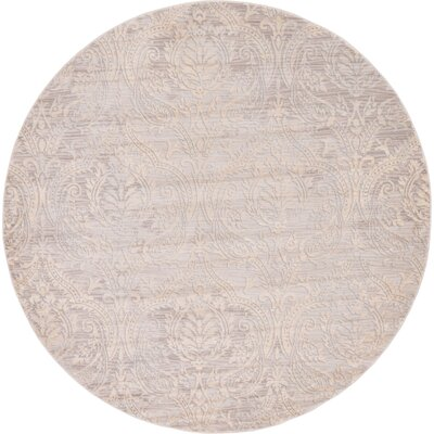 Mellal Gray Area Rug Rug Size: Round 6