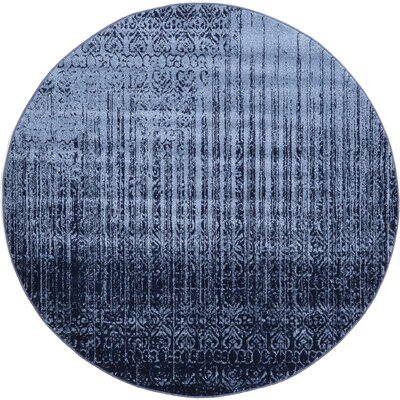 Dungan Blue Area Rug Rug Size: Round 6
