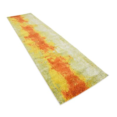 Fujii Yellow/Orange Area Rug Rug Size: Runner 27 x 10