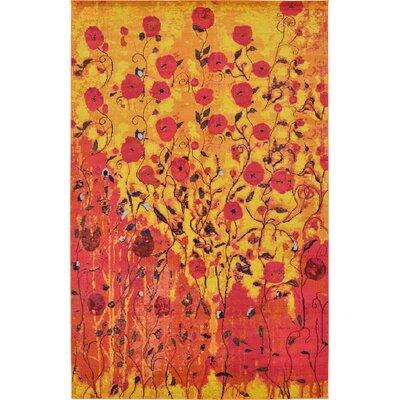 Roshan Orange Area Rug Rug Size: 106 x 165