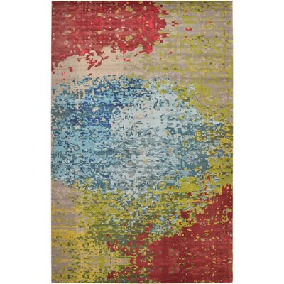 Demian Blue/Red Area Rug Rug Size: Round 8