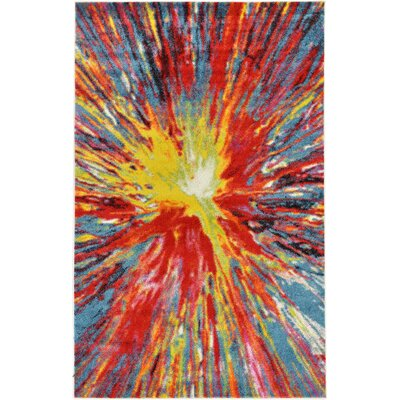 Elvia Yellow/Red Area Rug Rug Size: Round 8