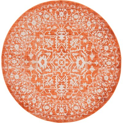Sherrill Terracotta Area Rug Rug Size: Round 6
