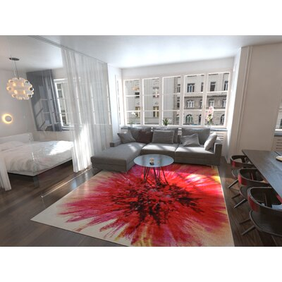 Elvia Red Area Rug Rug Size: Round 6