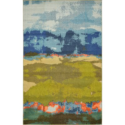 Fujii Blue Area Rug Rug Size: Rectangle 33 x 53