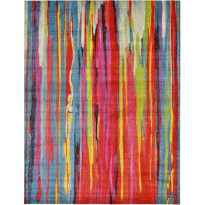 Elvia Blue/Red Area Rug Rug Size: Runner 27 x 10