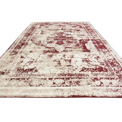 Brandt Red Area Rug Rug Size: Rectangle 9 x 12