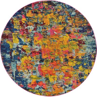 Fujii Pink/Yellow Area Rug Rug Size: Round 6'