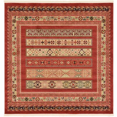Foret Noire Rust Red Area Rug Rug Size: Square 6