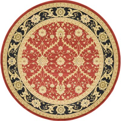 Fonciere Red Area Rug Rug Size: Round 6