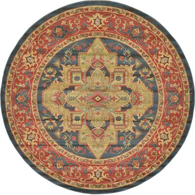 Valley Navy Blue Area Rug Rug Size: Round 8
