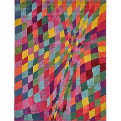 Oldsmar Pink/Green Area Rug Rug Size: Rectangle 9 x 12