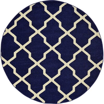 Moore Blue Area Rug Rug Size: Round 6