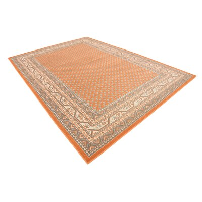 Gillam Orange Area Rug Rug Size: Round 8