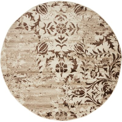 Matis Chocolate Brown/Beige Area Rug Rug Size: Round 5