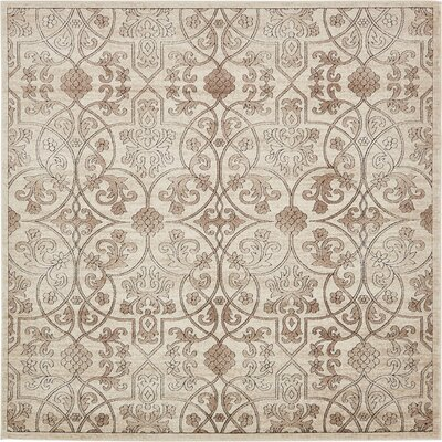Mathieu Dark Beige/Brown Area Rug Rug Size: Square 8