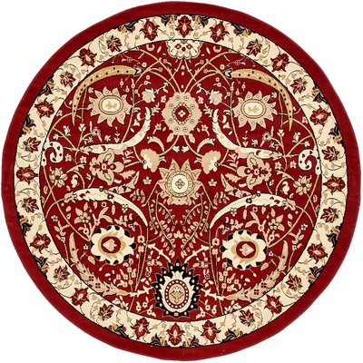 Antoinette Red Area Rug Rug Size: Round 8