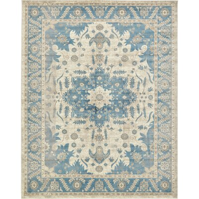 Jaiden Cream/Blue Area Rug Rug Size: Rectangle 10 x 13