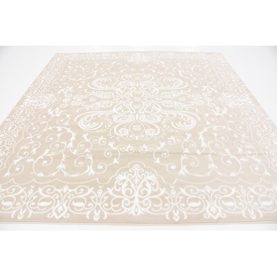 Mathieu Snow White/Beige Area Rug Rug Size: Square 8 x 8