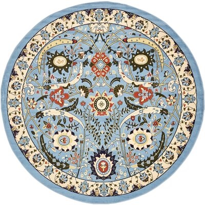 Antoinette Blue Area Rug Rug Size: Round 8