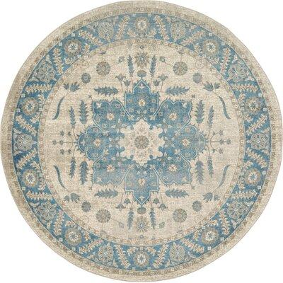 Jaiden Cream/Blue Area Rug Rug Size: Round 73