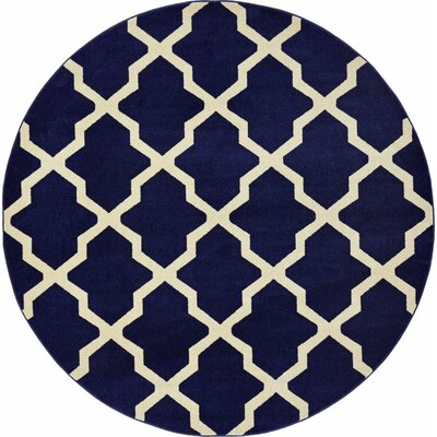 Moore Blue Area Rug Rug Size: Round 8