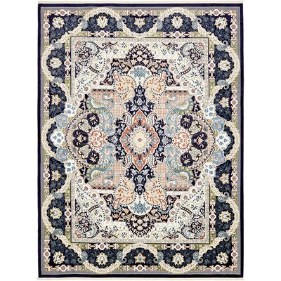 Amrane Navy Blue/Ivory Area Rug Rug Size: Rectangle 13 x 198