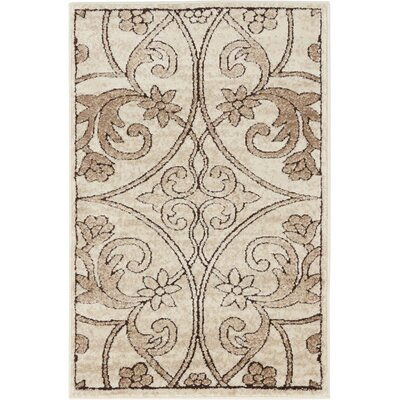 Mathieu Dark Beige/Brown Area Rug Rug Size: Rectangle 4 x 6