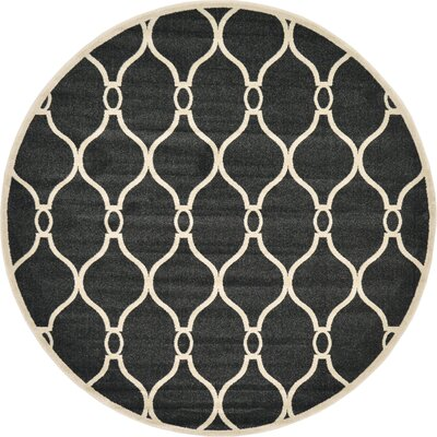 Molly Black Area Rug Rug Size: Round 8