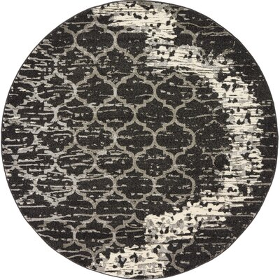 Steinbeck Charcoal Gray Area Rug Rug Size: Round 6