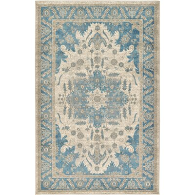 Jaiden Cream/Blue Area Rug Rug Size: 5 x 8