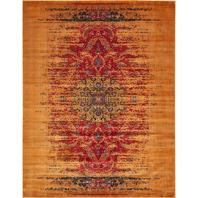 Figueroa Burgundy/Gold Area Rug Rug Size: Rectangle 7 x 10