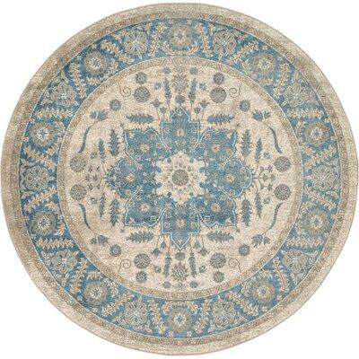 Jaiden Cream/Blue Area Rug Rug Size: Round 6