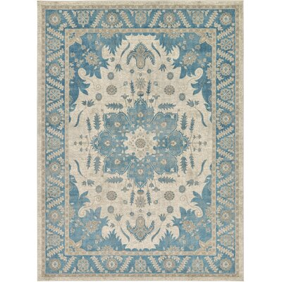 Jaiden Cream/Blue Area Rug Rug Size: 8 x 11