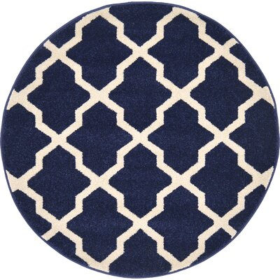 Moore Blue Area Rug Rug Size: Round 33