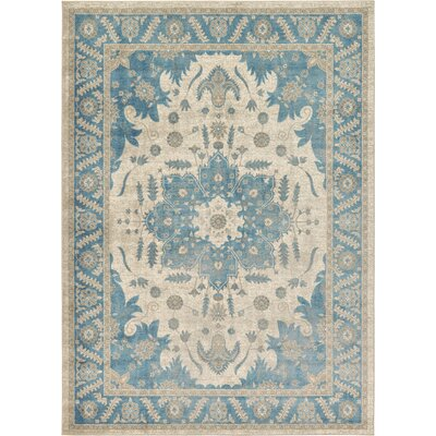 Jaiden Cream/Blue Area Rug Rug Size: 7 x 10