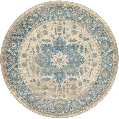 Jaiden Cream/Blue Area Rug Rug Size: Round 8