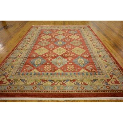Jana Red Tibetan Area Rug Rug Size: 33 x 53