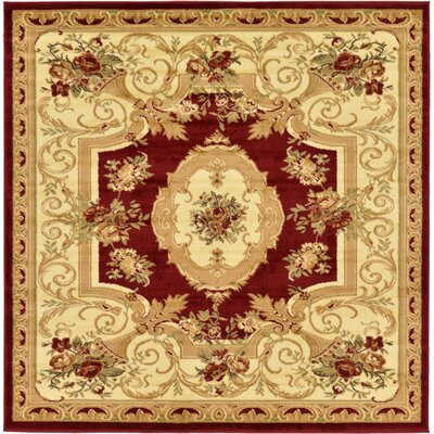 Sheffield Beige / Red Area Rug Rug Size: Square 6