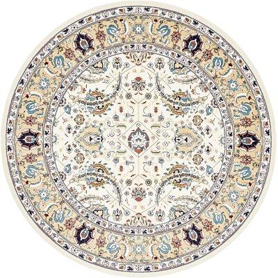 Jadyn Cream/Tan Area Rug Rug Size: Round 10