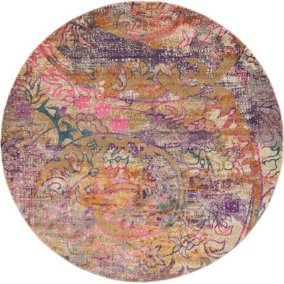 Charlena Abstract Area Rug Rug Size: Round 8