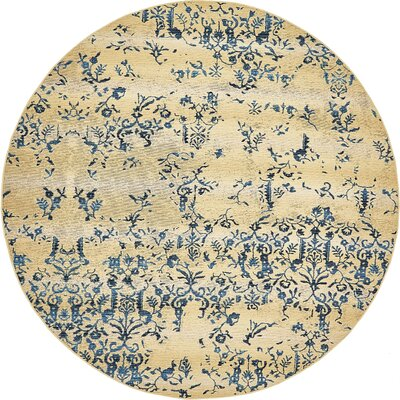 Eris Floral and Plants Beige Indoor/Outdoor Area Rug Rug Size: Round 8