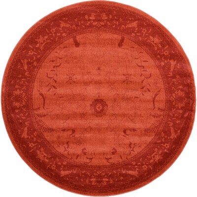 Aledo Rust Red Area Rug Rug Size: Round 8